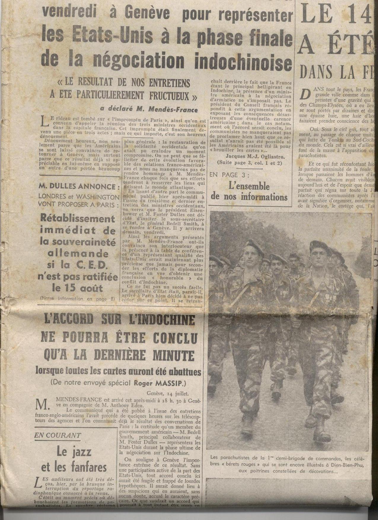 6- Le Figaro du 15 juillet 1954